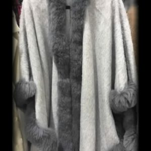 Cape Style Name: Allure Eye Catching Alpaca Brushed Cloak with fur details