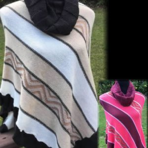 Poncho Style Name: Ariel, Alpaca knit Light Weight multi colors