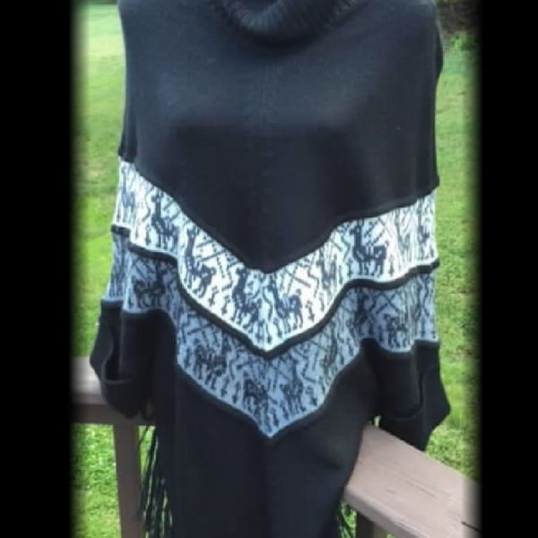 Poncho Style Name: Willow, knit with Alpaca Print details, and sleeves