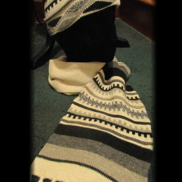 Hat Scarf, Knit with attached hat
